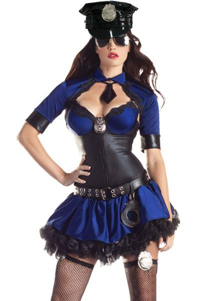 Cop Halloween Costume Wet Look Black Shaper Skirt Garter Police Large 8856