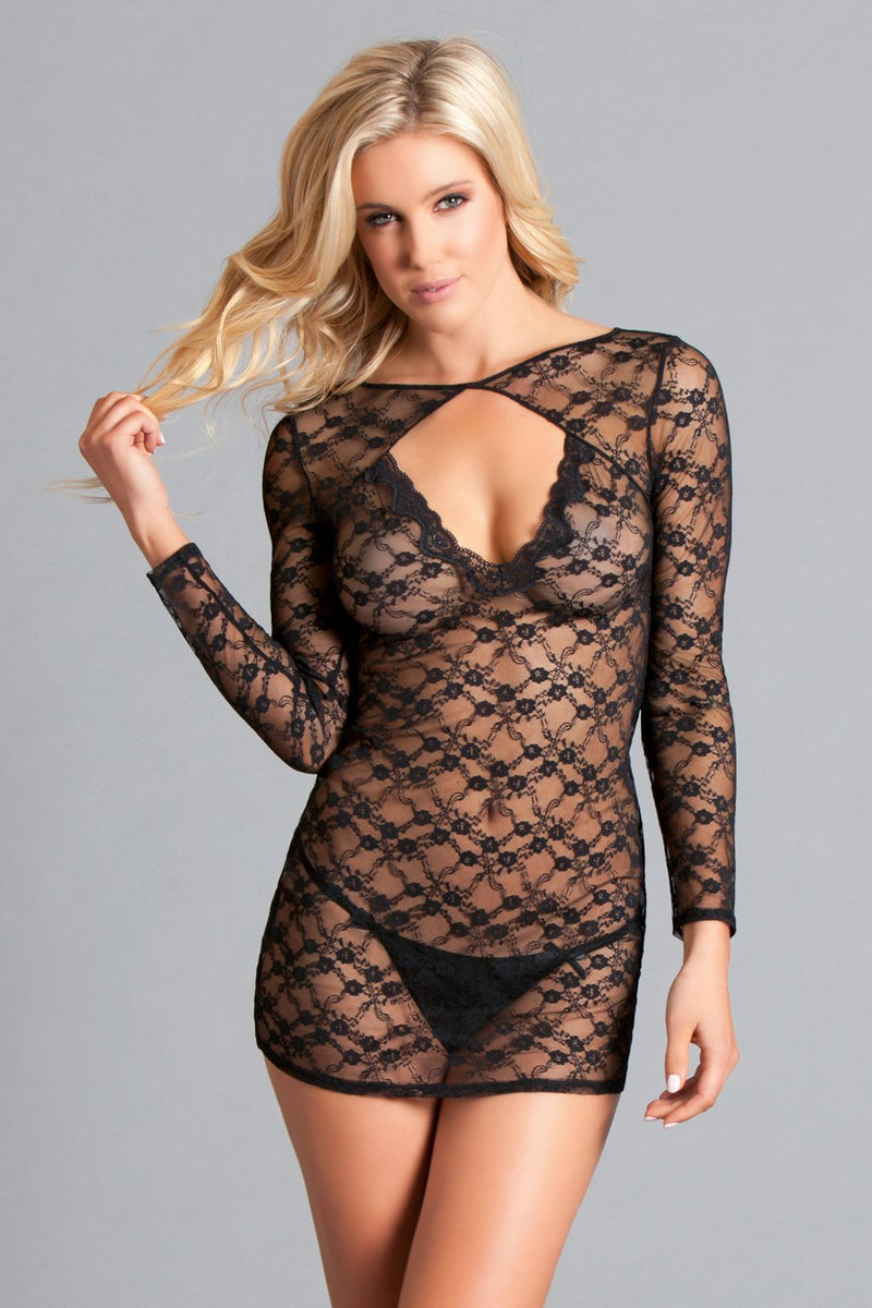 Black Chemise Lingerie Lace Long Sleeve Sheer Open Back