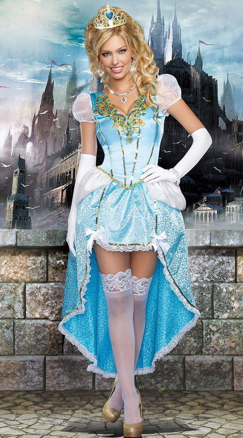 Princess Cinderella Having A Ball Dress Fairy Tale Halloween Costume 9473