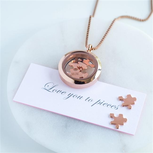 Love You To Pieces Rose Gold Necklace