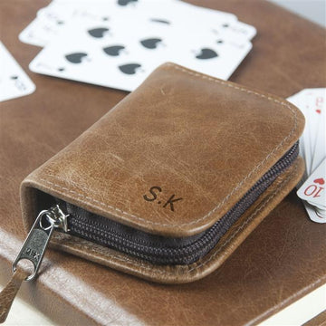 Personalised Leather Playing Card Holder