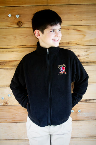 UNISEX Fleece Zip Front Jacket (Black)