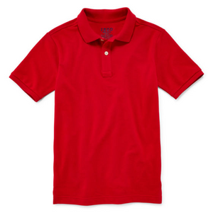 Boys Izod red short sleeve pique polo with GDA logo
