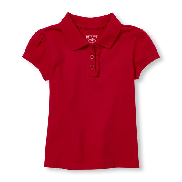 Toddler girls The Children's Place Ruffle Placket Pique w/GDA logo - Red