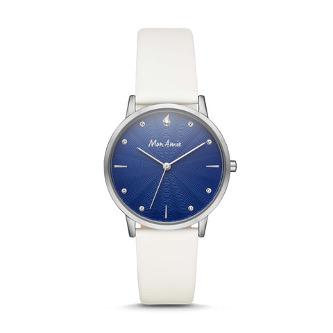Mon Amie Launch Water White Leather Watch