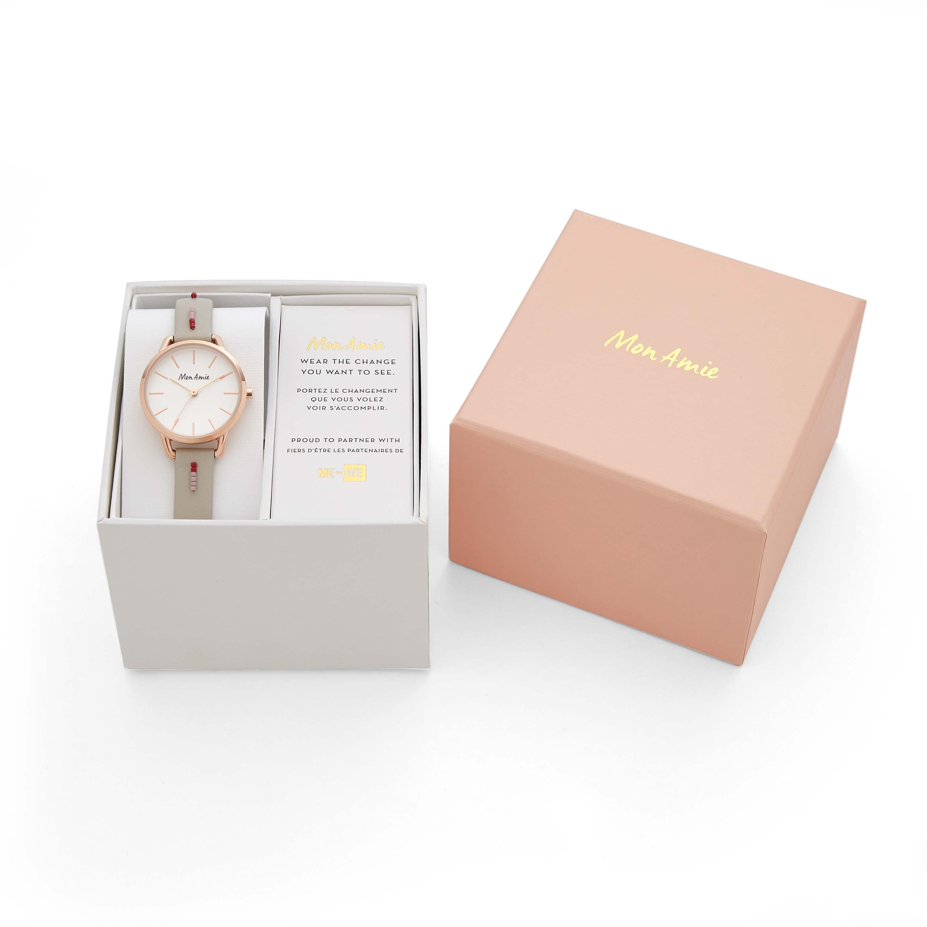 Mon Amie Opportunity Gray Leather Watch
