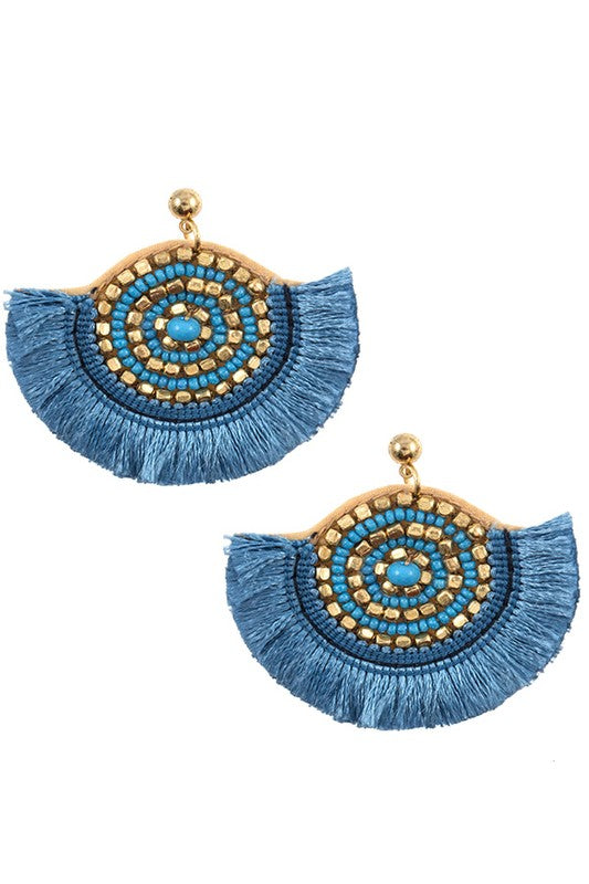Blue Statement Tassel Earrings