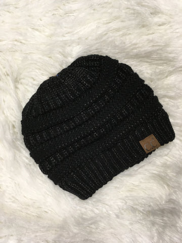 Black Metallic CC Beanie