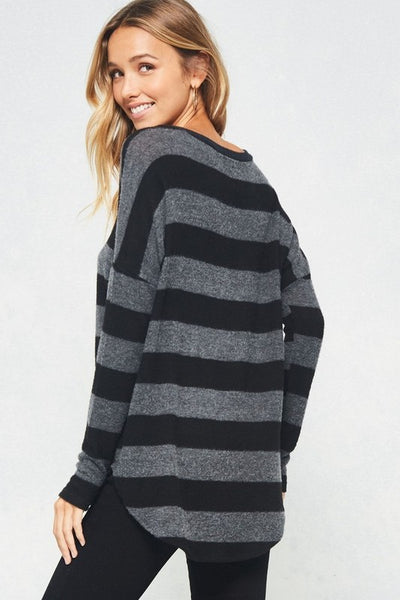 Stripe V Neck Sweater
