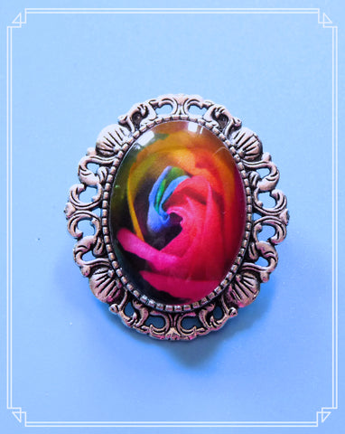 Rainbow Rose mini brooch/necklace single.  The setting has a loop soldered to the back so wear as a necklace or brooch!