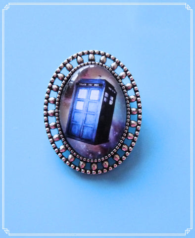 Police Box Galaxy - mini brooch single