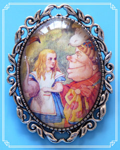 Alice with the Duchess and a flamingo brooch is an illustration by John Tenniel for the original Alice in Wonderland books.