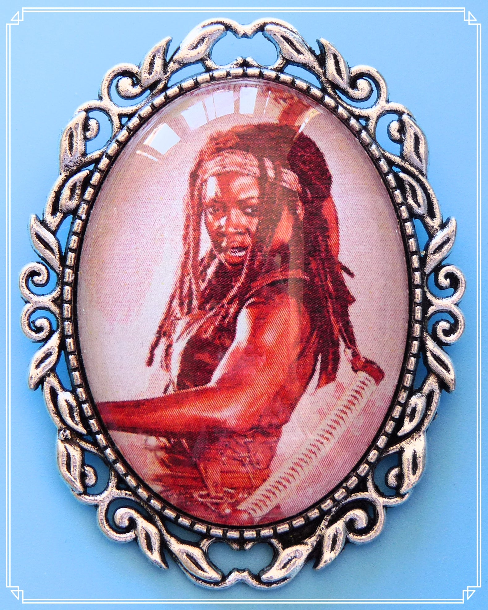 The Michonne brooch is part of my Pop Culture collection and inspired by the TV show The Walking Dead.