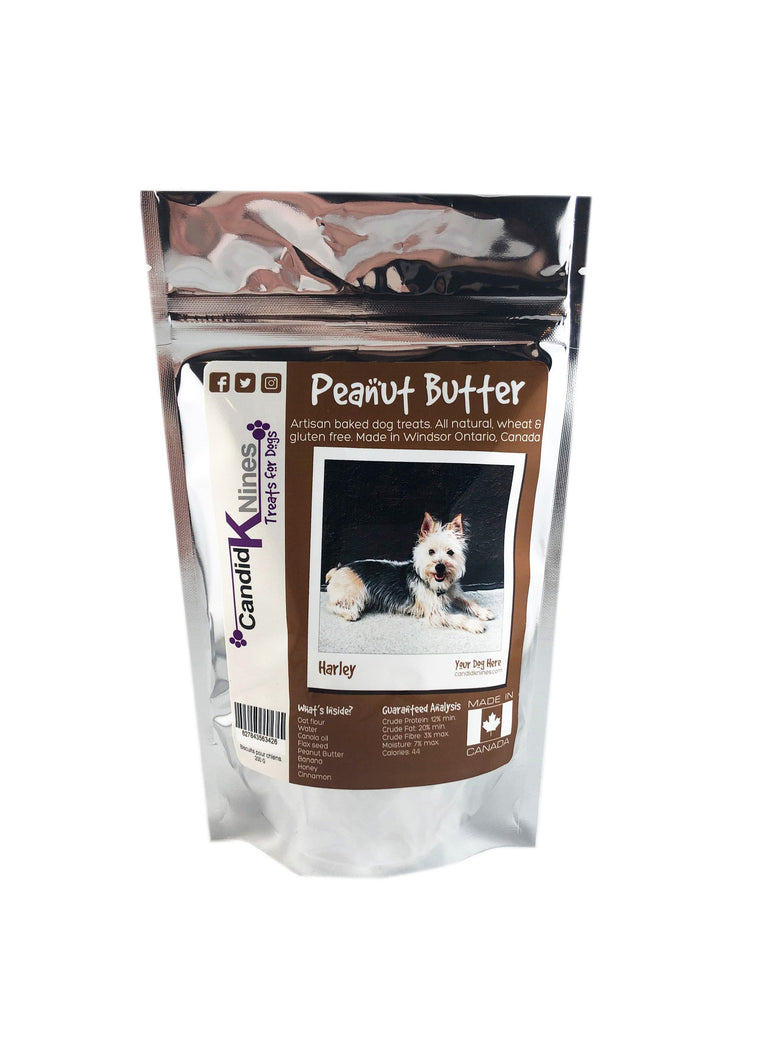 Personalized peanut butter dog treats