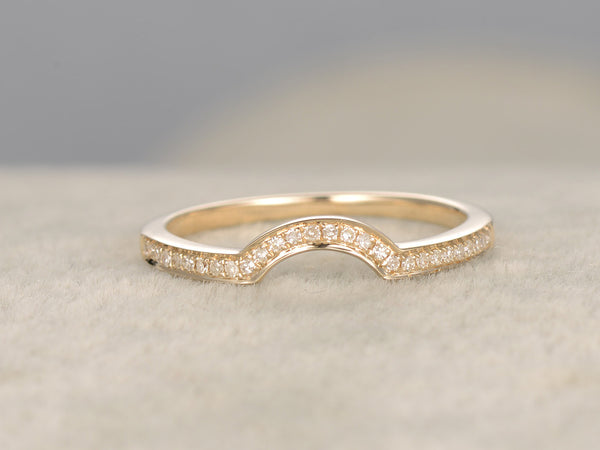 Diamond Wedding Ring,Solid 14K Yellow gold,Half Eternity,Anniversary Ring,Stacking ring,Curved matching band,Plain Gold edge