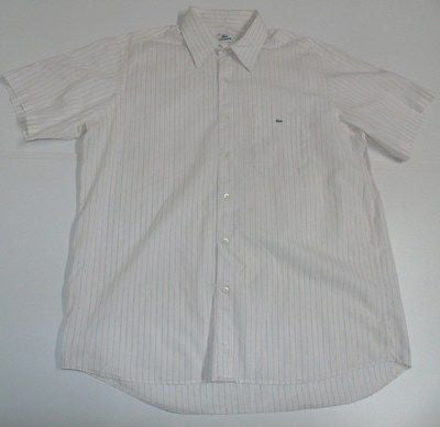 Lacoste pink stripes short sleeves shirt, large mens, size 44 - S4349