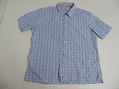 YSL Yves Saint Laurent blue checks short sleeves shirt, xl mens - S4833