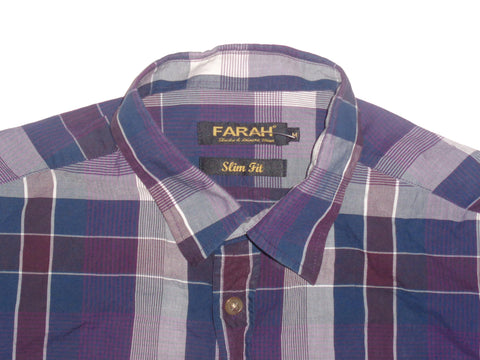 Farah purple checks shirt - medium mens, slim fit - S5498
