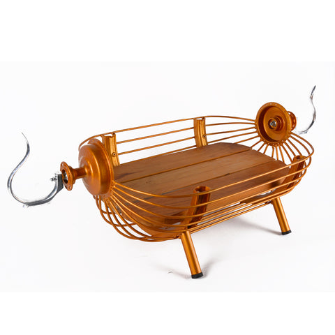 Bird cage wooden boat - Gold