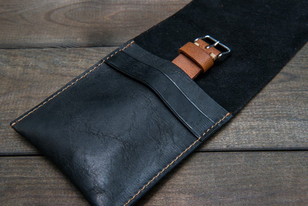 Black Horween leather watch roll / watch case for wrist watch organizing - 1 pocket - finwatchstraps