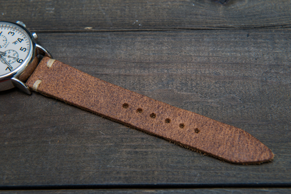Suede vintage leather watch strap (Cognac), handmade in Finland - 10mm, 12 mm, 14 mm, 16mm, 17 mm, 18mm, 19 mm, 20mm, 21mm, 22mm, 23 mm,  24mm, 25 mm, 26 mm. - finwatchstraps