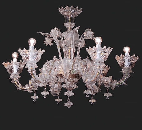 Clear Murano glass 6 light chandelier with gold trim