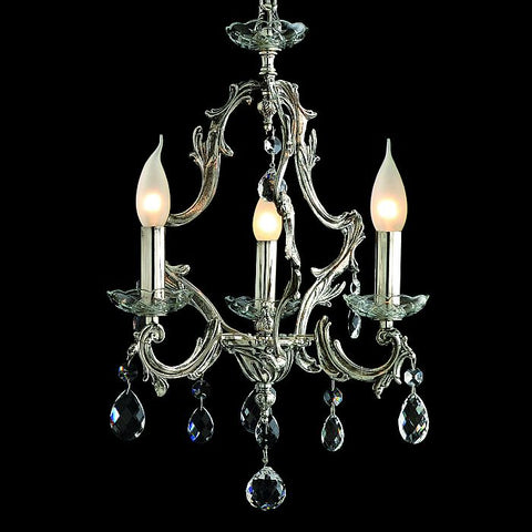 3 light silver chandelier with optional crystal pendants