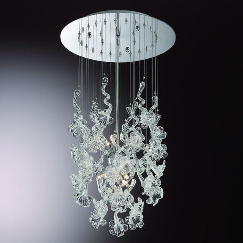 Pretty mid-century style chandelier with clear glass flowers