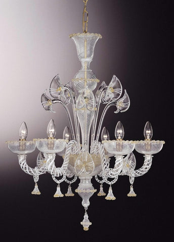 Murano glass chandelier with lilies
