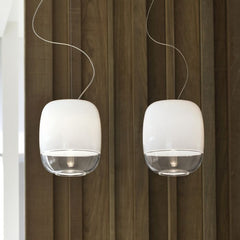 Gong S1 glass pendant with metallic finish from Prandina