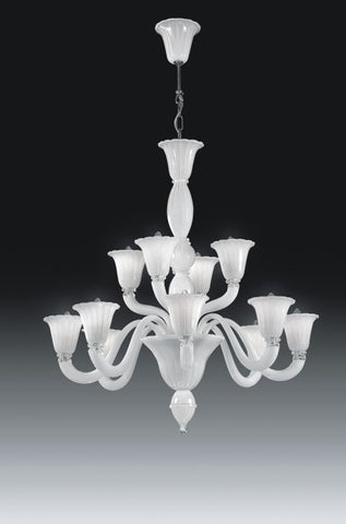 White handblown Italian glass 12 light chandelier