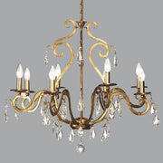 Classic gold metal suspended ceing light with crystals