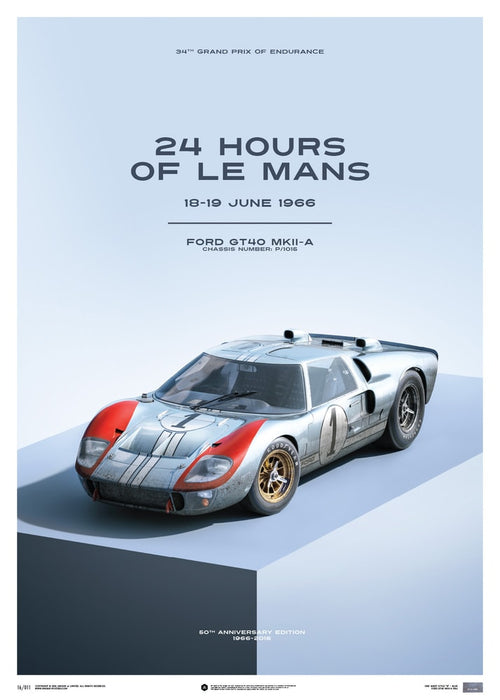 Ford GT40 - Blue - 24h Le Mans - 1966 - Limited Poster