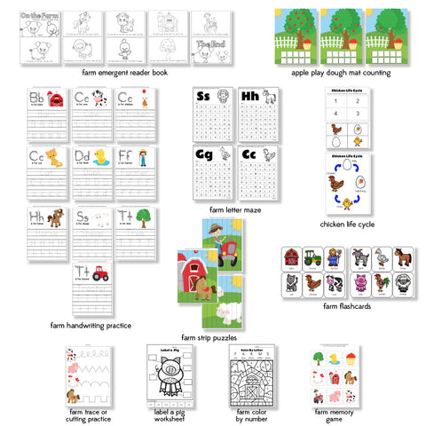 farm animal printable pack