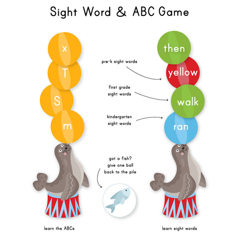 Seal Sight Word Game & ABC Game