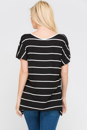 Front Lace Detail Striped Top