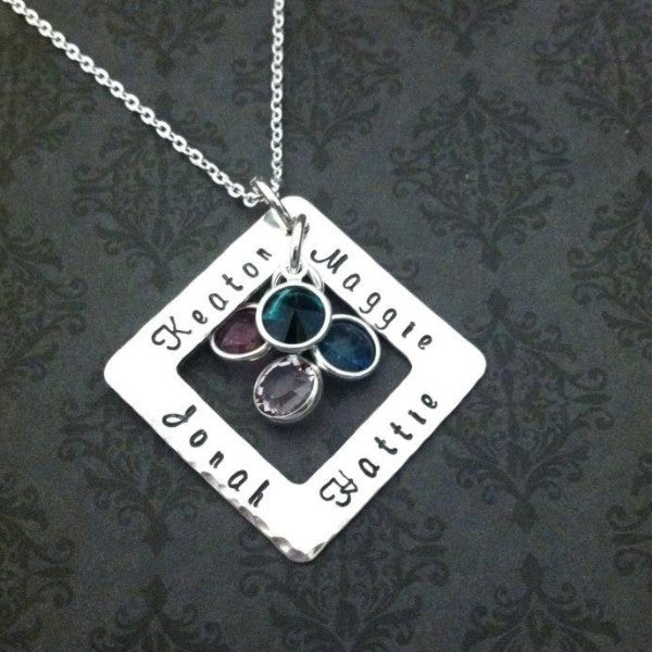 Sterling Silver Washer with Birthstones