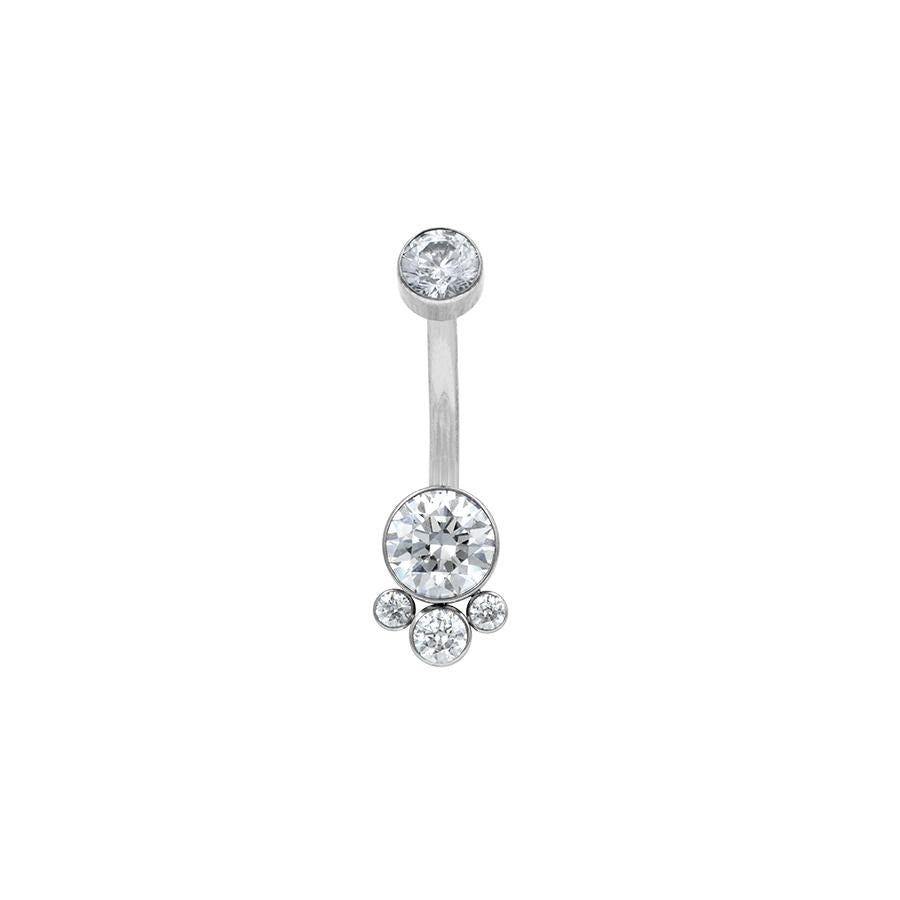 LeRoi Bijoux 4 Gem Cluster Navel Bar in Titanium with Clear Swarovski Gems