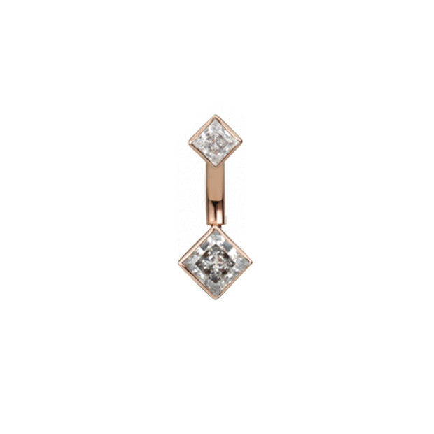 Maria Tash Gold Princess Navel Bar in 14k Rose Gold with Cubic Zirconia