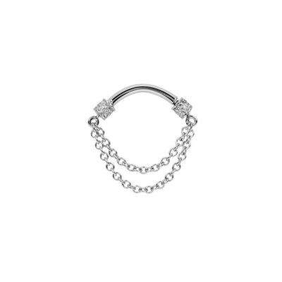 Maria Tash Double Chain Spinner in 14k White Gold