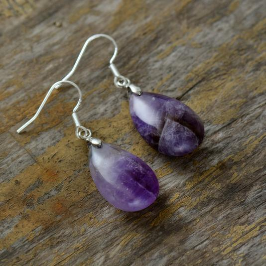 Purple Quartz Teardrop Earrings