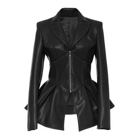 Gothic Faux Leather Zip Up Waist Jacket