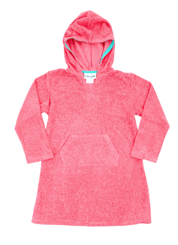 Pink Hooded Stretch Towelling Cotton Coverup-Lilypond Kids