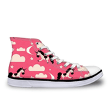 Teens Hi Top Canvas Sneakers - Unicorn Prints-Lilypond Kids