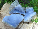 Natural Blue Agate Geodes x 18 from Malawi