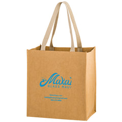 TSUNAMI - WASHABLE KRAFT PAPER GROCERY TOTE BAG WITH WEB HANDLE - WB12813
