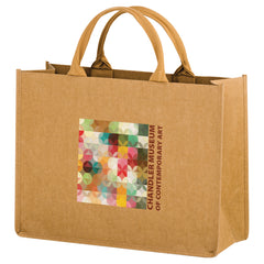 HURRICANE - WASHABLE KRAFT PAPER TOTE BAG WITH CONTOURED HANDLE - WB16612