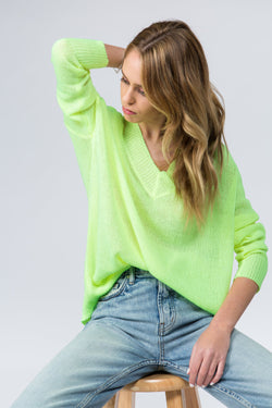 Neon lime green oversized v neck sweater