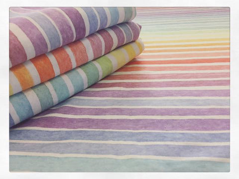 International Pastel Watercolour Stripes Rainbow Fabric