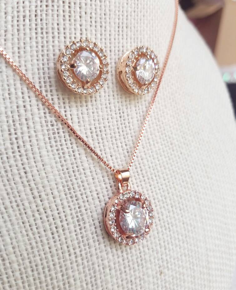 Rose Gold jewelry Set, Bridesmaid Jewelry CZ Set Rose Gold Wedding necklace Crystal Bridal Necklace earrings Wedding jewelry gift